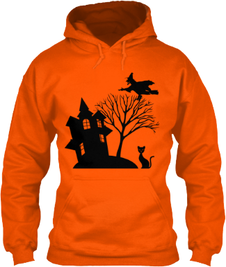 Haunted House Hoodie with Witch Cat