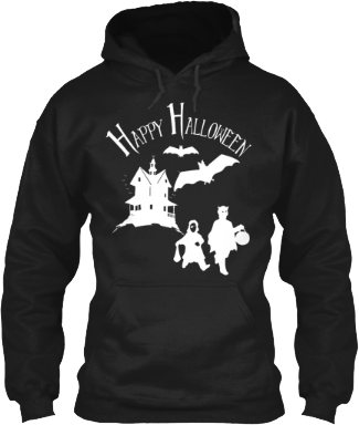 Happy Halloween Haunted House Bats Trick or Treaters