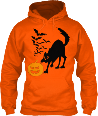 Black Cat Bats Pumpkin Halloween Hoodie