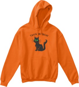 Kid's Black Cat Trick or Treat Halloween Hoodie