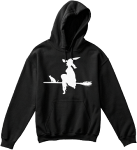 Halloween Witch Cat on Broom Hoodie
