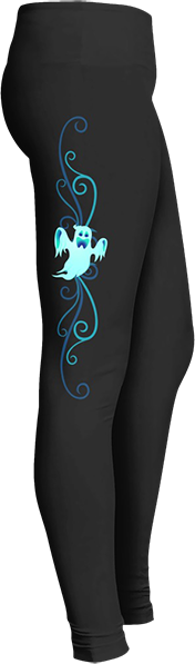 Black Halloween Workout Trick or Treat Costume Blue Ghost Leggings