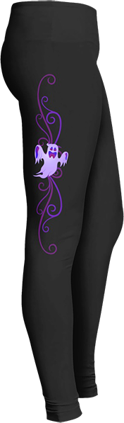 Black Halloween Workout Trick or Treat Costume Purple Flying Ghost Leggings