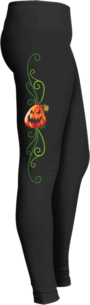 Pumpkin Halloween Leggings Black Halloween Workout Trick or Treat Costume Leggings