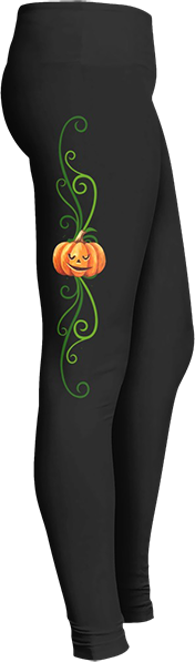 Black Halloween Workout Trick or Treat Costume Pumpkin Vine Leggings
