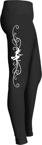 Black Halloween Workout Trick or Treat Costume Witch Flying on Broom Leggings