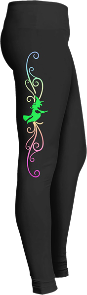 Witch flying on broomstick gradient colors of blue green pink Black Halloween Workout Trick or Treat Costume Leggings