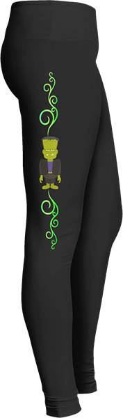 Frankenstein Monster Black Halloween Workout Trick or Treat Costume Leggings
