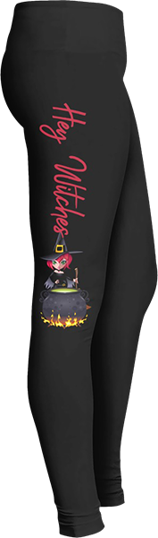 Hey witches witch cauldron Black Halloween Workout Trick or Treat Costume Leggings
