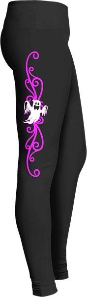Black Halloween Workout Trick or Treat Costume White Ghost Pink Swirl Leggings