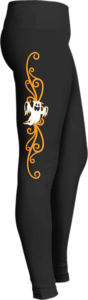 White ghost orange swirl Black Halloween Workout Trick or Treat Costume Leggings