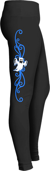 White flying ghost blue spirit swirls Black Halloween Workout Trick or Treat Costume Leggings