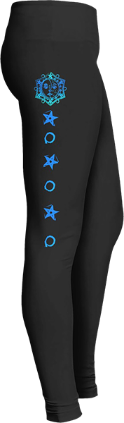 Zodiac blue moon sun and stars Black Halloween Workout Trick or Treat Costume Leggings