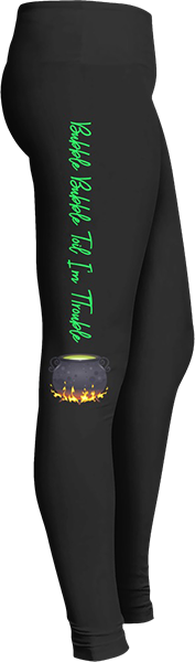 Shakespeare bubble, bubble, toil and trouble witches fire cauldron Black Halloween Workout Trick or Treat Costume Leggings