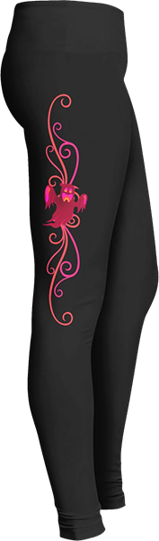 Cranberry colored ghost Black Halloween Workout Trick or Treat Costume Leggings