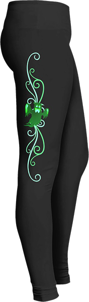 Green Flying Ghost Spirit Black Halloween Workout Trick or Treat Costume Leggings