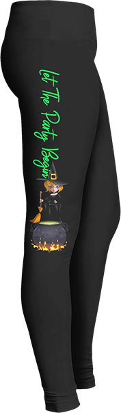 Let the party begin witches cauldron Black Halloween Workout Trick or Treat Costume Leggings