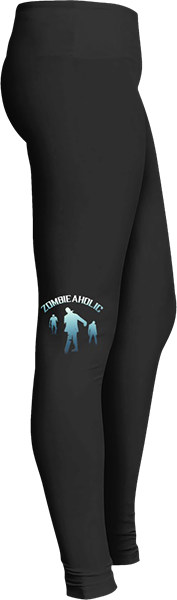 Blue zomieaholic Black Halloween Workout Trick or Treat Costume zombie Leggings