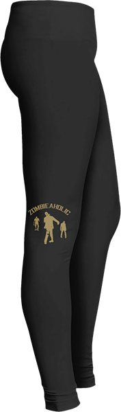 Zombie Zombieaholic Black Halloween Workout Trick or Treat Costume Leggings