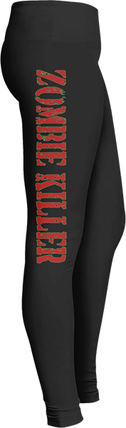 Black Halloween Workout Trick or Treat Costume Red Zombie Killer Leggings
