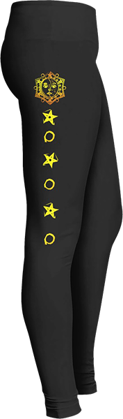 Zodiac sun moon yellow stars Black Halloween Workout Trick or Treat Costume Leggings