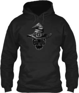 Black Skull Witches Hat Hoodie