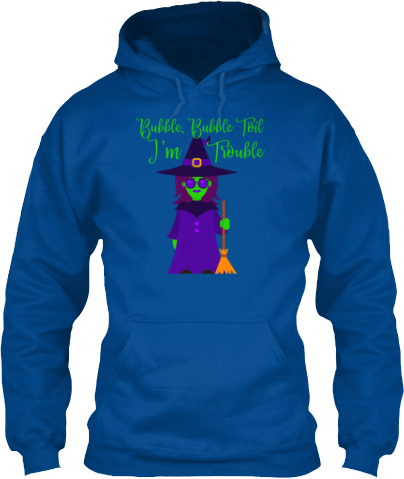Bubble Toil I'm Trouble Witch with Sunglasses Hoodie