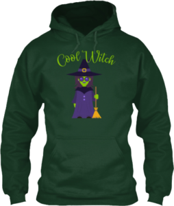 Cool Witch with Sunglasses and Broom Hoodie