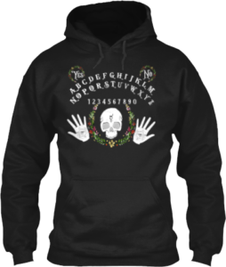 Spirit Board Skull Palm Reader Hoodie with Flowers