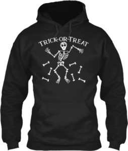 Skeleton Bones Halloween Trick or Treat Hoodie