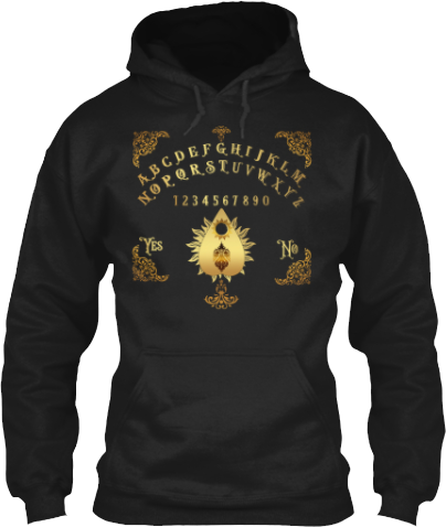 Spirit Board and Planchette Gold toned Fancy Guilded Design Hoodie