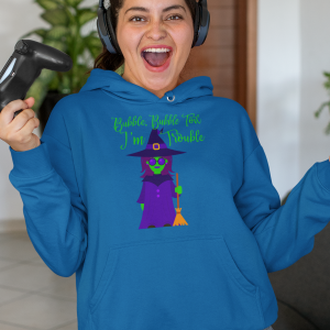 Bubble Bubble Toil I'm Trouble Witch with Broom Hoodie