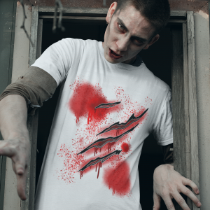 Halloween T shirt Costumes Zombie Slasher Cuts and Blood Shirt