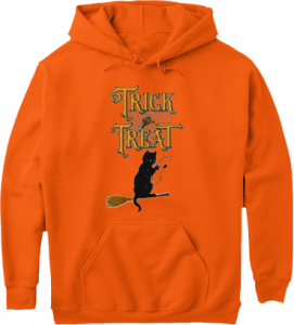 Black Cat Witches Broom Trick or Treat Hoodie